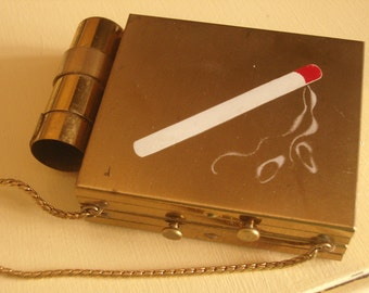 Vintage Carryall Lipstick Compact Cigarette Match Design CUTE
