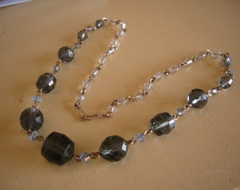 Vintage Grey Glass Art Deco Bead Necklace