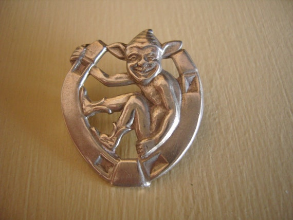 Victorian Silver Horseshoe Lucky Imp Brooch Pin
