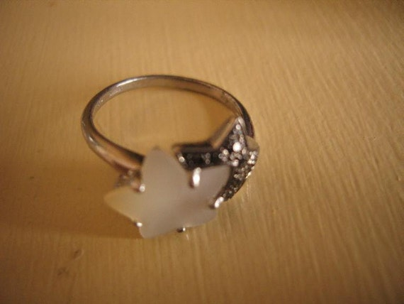 Marcasite Mother of Pearl Stars Silver Ring
