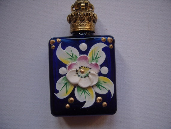 Vintage Blue Glass Handpainted Perfume Bottle-REDUCED PRICE