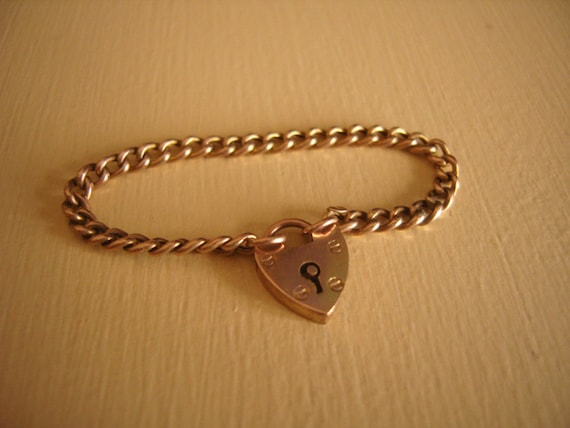 Victorian 9ct  Gold MINIATURE Opening Padlock Charm Bracelet