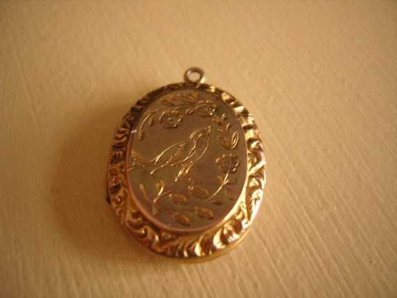 Edwardian Locket Charm Gold Birds Engraved- REDUCED PRICE