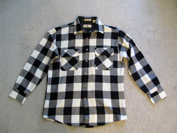 Black White Buffalo Plaid Flannel Shirt Northwest