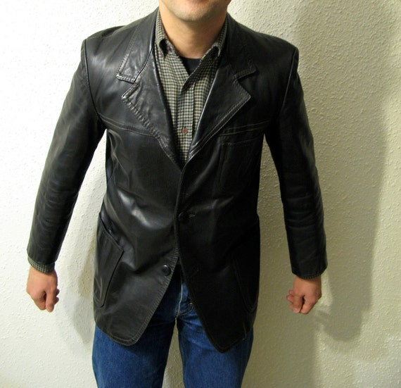 RESERVED: Leather Jacket, Tailored in Milan Italy, Black Sports Jacket, Life on Mars Style, 38 short