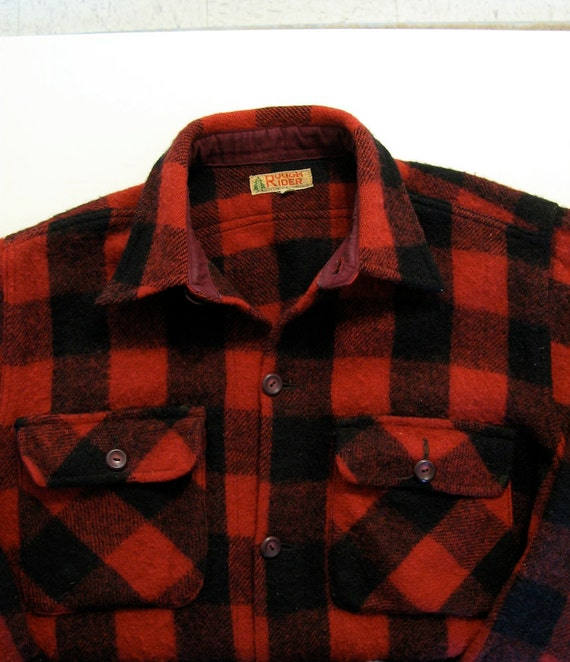 black red buffalo plaid flannel shirt jacket 100 wool