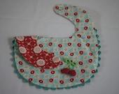 Cherries red and aqua reversible baby bib