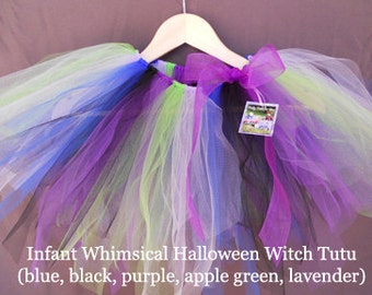 Whimsical Halloween Witch Tutu- purple, black, blue, lavender, apple green