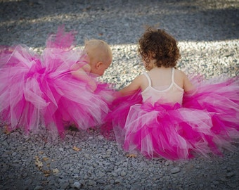 Extra Full Whimsical Sister Tutu- fuchsia, light pink