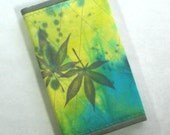 small artist's sketchbook, Japanese maple leaves, quilted cover, refillable --- item no.6569