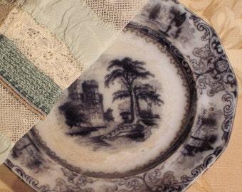 Antique Plate Mulberry Transferware Circa 1835-1855