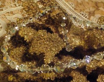 Vintage Necklace Aurora Borealis Crystal Circa 1950's