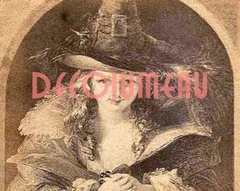 Halloween Digital Download Antique Image of Pilgrim or Witch Girl