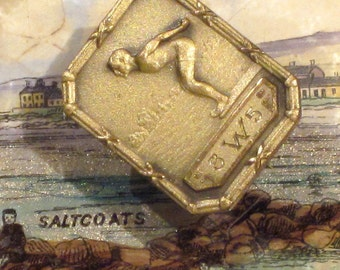 Vintage Art Deco 1935 Diving Swimmers Medal