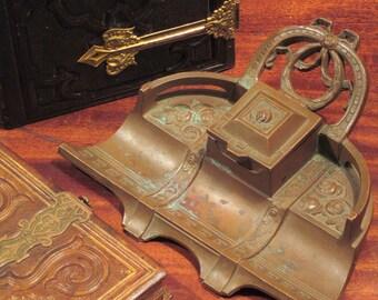 Antique Art Nouveau Bronze Inkwell
