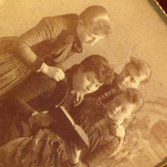 Antique Cabinet Card Photo of Ladies Reading