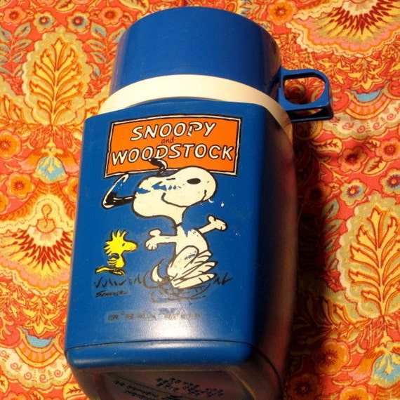 Vintage Child's Thermos from 1965...Snoopy and Woodstock