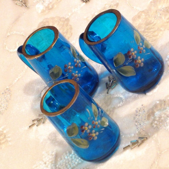 Antique Victorian Moser Enameled Mugs