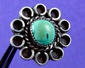 1940s Vintage Navajo Hopi Sterling Silver Turquoise Big Ring 11803