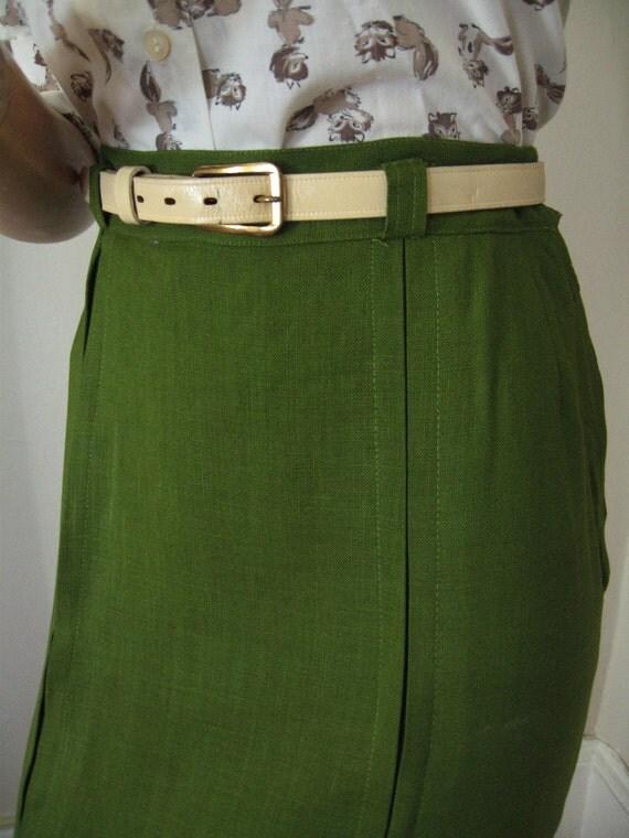 1950's Linen Pencil Skirt Green w/ Belt