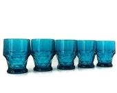 vintage juice glass - set of five Georgian in bluenique