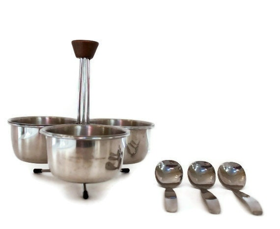 teak and stainless condiment set