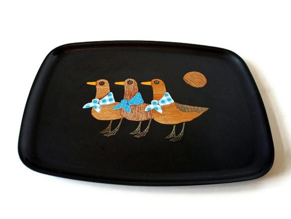 vintage Couroc tray - inlaid wood, brass and ceramic