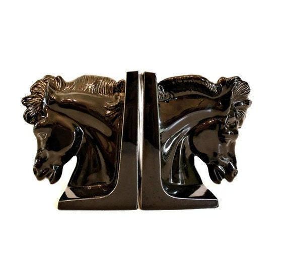 Hollywood Regency Horse Bookends