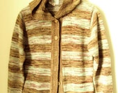 Hoodie Sweater cardigan sweater with hood mori girl rust ginger spice brown sage green stripes marled space dyed women medium vintage 70s