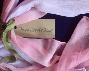 Hand Dyed Silk Scarf pink lavender raw-edged gypsy clothing ombre silk chiffon gypsy scarf