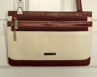Crossbody Bag Mini purse passport travel bag vintage 90s ivory cream brown leather long strap purse minimalist style hipster handbag Tusk