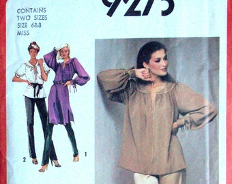 Poet Blouse peasant dress tunic top straight leg pants fly front sewing pattern disco style vintage 70s 1970s Simplicity 9273 women 6 8