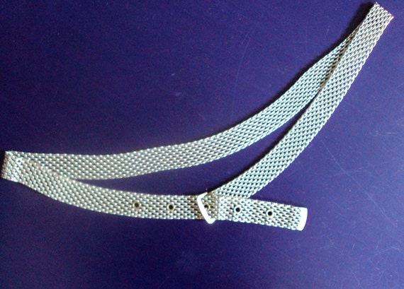 silver belt - silver mesh belt - metallic belt - disco belt