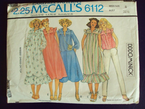 smock dress or top 70s sewing pattern - peasant dress - tunic blouse