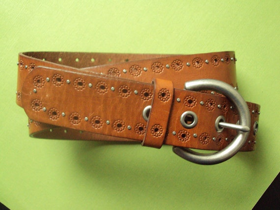 tooled leather belt - vintage Fossil Belt - size M