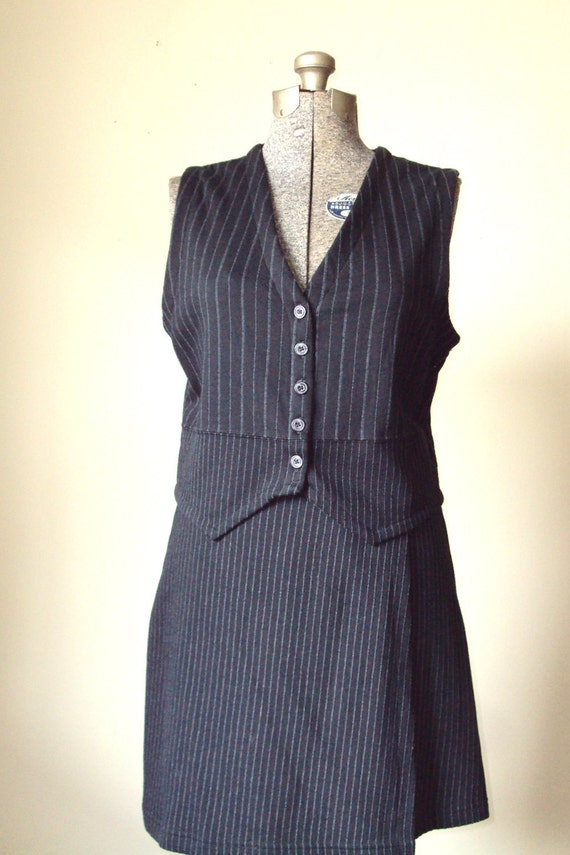 Pinstripe Suit Black Vest Skirt 2 Piece Dress Banker Office Suit short mini skirt black charcoal grey vintage 90s Liz Claiborne women medium