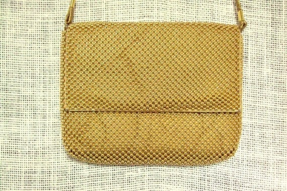 Gold Beaded Crossbody Purse or Clutch Bag vintage 70s 80s disco prom evening bag long strap metallic gold mesh glam hipster high fashion