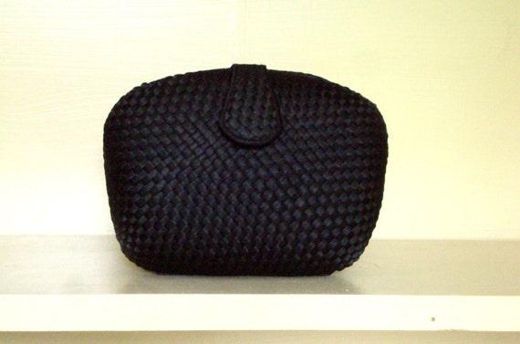 black clutch bag - crossbody bag - prom - formal - woven fabric handbag
