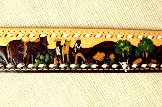 hand painted & tooled leather belt - cowboys - horses - southwestern belt -  Sheyenne - Anthropologie style