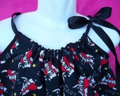 pirate dress Birthday Party  Rockabilly rock n roll skull love girl Pillowcase tattoo heart Dress SIZE 18m  2t 3t READY to SHIP