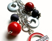 """SALE Accessories London Underground Keychain - Silver keychain with """"Underground"""" pendant and assorted charms - London Olympics"""
