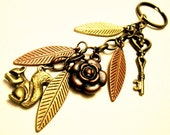 Brass keychain - Woodland keycain with squirrel, key and leaf charms - Into the Woods