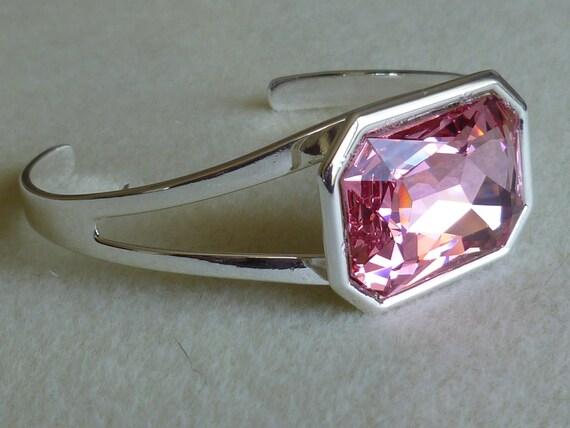 Cuff bracelet - pink Swarovski crystal silverplate frame  REDUCED PRICE
