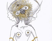 original drawing - nude with bee - try