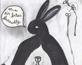Rabbit Hamlet - original painting - black and white - The air bites shrewdly