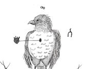 robin - black and white bird drawing - pen and ink - harbinger of spring
