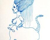 nude - beast lady - original drawing - sphinx - freak