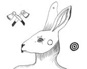 rabbit - black and white - hare - pen and ink - anatomical heart and lungs - drawing