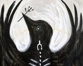Blackbird - Original Painting - Black and White - Bird - Crow