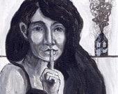 original portrait painting - black and white - secrets - woman - small acrylic -